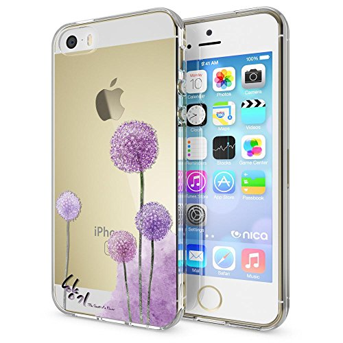 iPhone SE 5 5S Hülle Handyhülle von NICA, Slim Silikon Motiv Case Schutzhülle Dünn Durchsichtig, Etui Handy-Tasche Back-Cover Transparent Bumper für Apple iPhone 5 5S SE, Designs:Deer Dandelion Pink