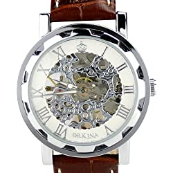 Orkina Silver Case Skeleton Mechanical Dial Leather Band Wrist Watch KC023-LSW