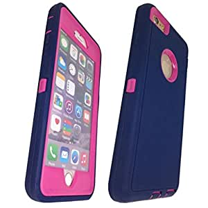 iphone 6 Plus case, Lucky On iPhone 6 / 6s PLUS 5.5in Durable Dual Layer Protective Hybrid Armor Heavy Duty Shockproof Shell Case - built-in Transparent Screen Protector - NavyBlue & HotPink