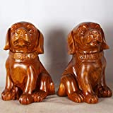 JINHONGH Birne Holzschnitzerei Holzschnitzerei Ornamente Zodiac Lucky Dog Room Decor (Color : 38CM, Size : A Pair)