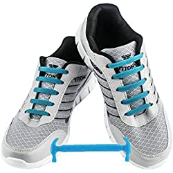WELKOO® Cordones elásticos de silicona sin nudo impermeables para calzado de niños -12 pza,Talla NIÑO azul cielo