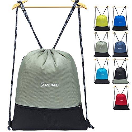 Zomake sacca sportiva per uomo donna bambini - impermeabile gymsack con tasca della chiusura lampo per pallacanestro, calcio, nuoto, fitness, viaggi, shopping (grigio)