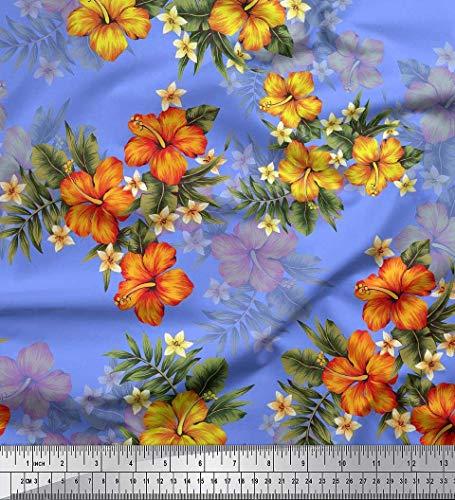 off Blumen & Blätter tropisch Dekor Stoff gedruckt 1 Meter 42 Zoll breit ()