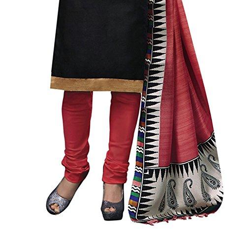Applecreation Women's Silk Dress Material (3002_Black)