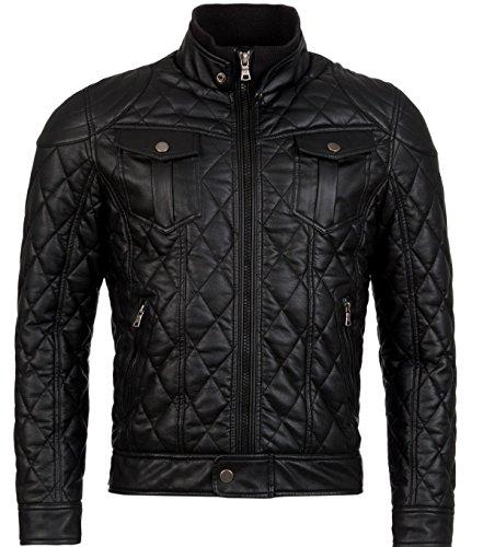 Young & Rich S F Veste Jacket Homme faux cuir fermeture éclair blouson manches longues Vegan S-XXL Noir