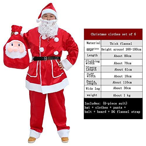 GLP Herren Santa Father Weihnachten bärtigen Kostüm Ball Kostüm Weihnachten Kleidung Set Luxus Luxus hohe Kostüm rot 5-6 Stück Set (Color : 6 Piece Set+DG ()