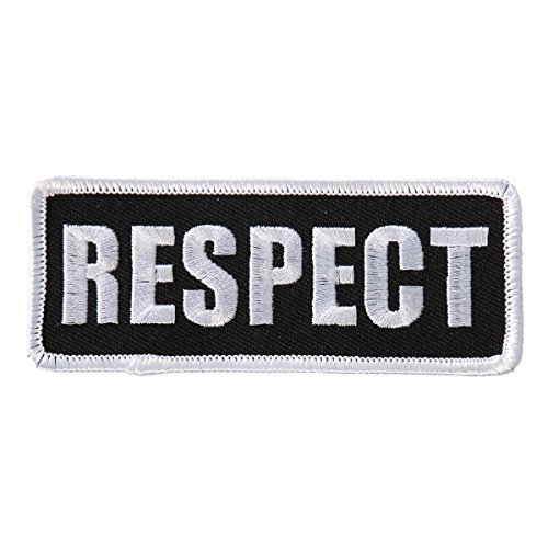 "Hot Leathers, RESPECT, High Thread EMBROIDERED Iron-On / Saw-On Rayon PATCH toppa - 4"" x 2"""