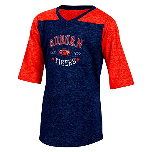 NCAA Texas-Tunika, halblanger Arm, Mädchen, NCAA Champion Youth Girl's Cheer V-Neck Tunic T-Shirt, Navy Heather, XL-14/16 -