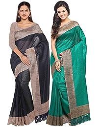 Rajnandini Women's Tussar Silk Printed Saree(JOPLNB3006E-B_Navy Blue And Green_Combo Of 2)