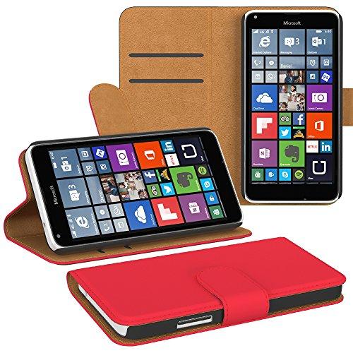 PREMIUM - Flip Case für - Nokia Lumia 535 - Wallet Cover Hülle Schutzhülle Etui Tasche Schwarz Rot (Book)