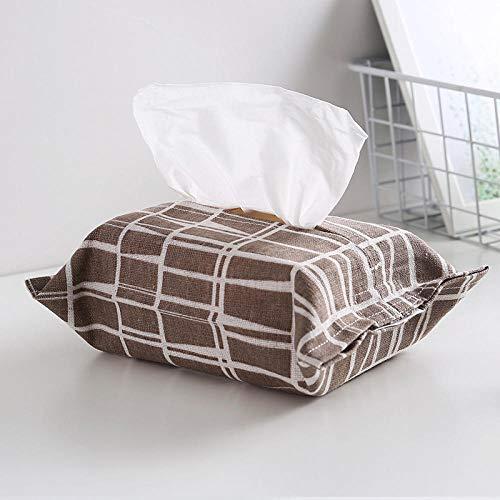 cewin9999 Stoff Handtuchhalter Box Papier Handtuchhalter Tasche Stoff Tissue Handtuchhalter Baumwolle und Leinen Handtuchhalter Tasche Plaid Kaffee Muster -