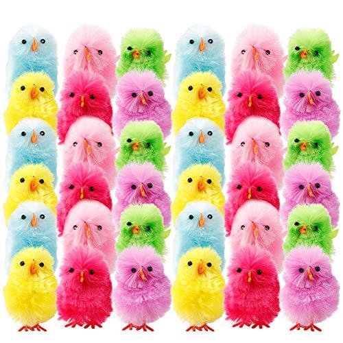 Kleinkinder-Spielzeug, klein, süßes gelb/buntes Hühnchen, Oster-Party-Dekoration, Spielzeug Großhandel Plüsch Küken für Kinder, Lernspielzeug, Plastik, bunt, 36 PCS ()