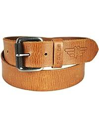 POLICE Men's Leather Tan Shiny Gun Metal Belt - Large (35-39 Inch)