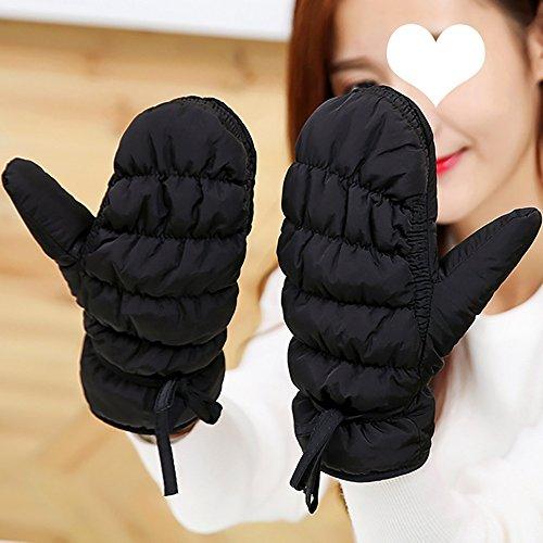 Gestrickte Handschuhe Handschuhe Winter Verdickung Warme Handschuhe Winddicht Reiten Skifahren Handschuhe Herbst und Winter Warme Handschuhe ( Farbe : Schwarz )