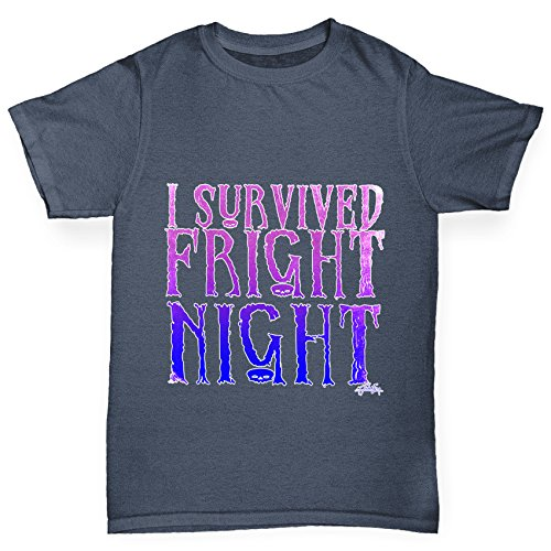 T-Shirt I Survived Fright Night Print Age 3-4 Holzkohle (Filme Online Halloween 4)