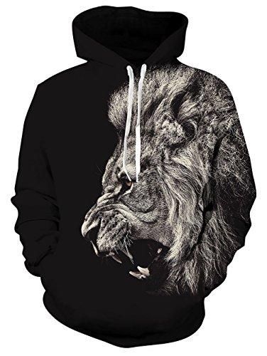 Leapparel Hip Hop Lustige Hoodie für Herren Jungen Black Lion 3D Grafik All-over Print Pullover mit Tunnelzug und Große Kängurutasche und Fleece-Innenfutter (Lion Jacke Kinder)