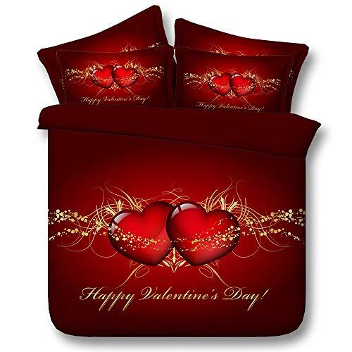 Ruixinshi la trapunta e la fodera per federe del cuscino stabiliscono 3d hd digital printing bedding valentine's day, 240 * 225