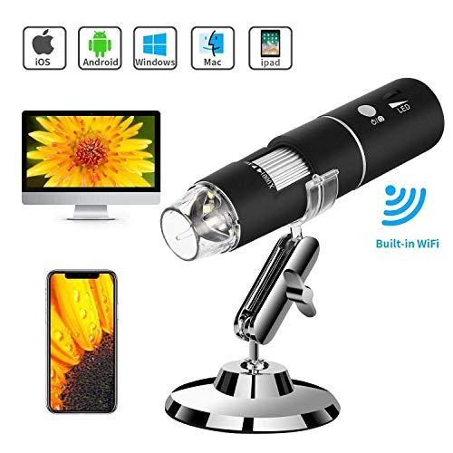 Preisvergleich Produktbild WiFi USB-Mikroskop,  Wireless-Digitalmikroskopkamera Mit WiFi-Funktion,  1080P HD 2MP 50x Bis 1000x Verstärkung Für Android,  IOS,  Smartphone,  Tablet
