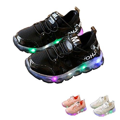 LED Baby Schuhe, Chickwin Baby LED Kinderschuhe Unisex Weich Und Bequem Rutschfest Bunte LED-Leuchten Schuhe Mesh SportSchuhe Flashing Schuhe (24 / Maß Innen (cm) 14.2, Schwarz) (Neo Halloween Kostüme)