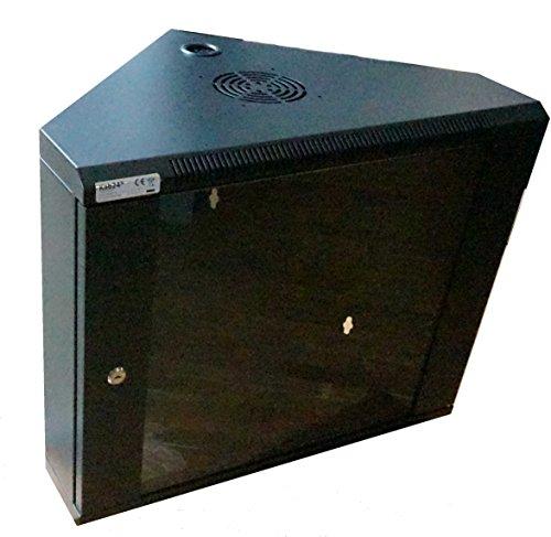 Schwarzer Eckschrank (Kab24® Eckschrank Netzwerkschrank Serverschrank Wandhehäuse Netzwerk Wandschrank Wandverteiler SOHO Schrank schwarz 19 Zoll 9 HE H:43 x B:60 x T:43cm)