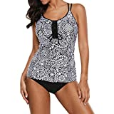 DISSA SY410686 Damen Träger Swimsuit 2 Pieces Tankini Swimwear Set,Schwarz,XXXL-EU 44