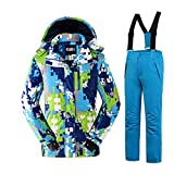Jungen Kinder Skianzug Skijacke Skihose Regenlatzhose Verdickung Jacket Wintermantel Mantel Skianzug (Hellblau, 134/140)