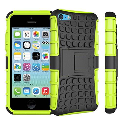 Apple iPhone 5c Coque, SsHhUu Dure Heavy Duty Réduction de Vibration Couverture Double Couche Armure Combo avec Kickstand Protecteur Étui Coque pour iPhone 5c 4.0 Pouce (Bleu) Vert