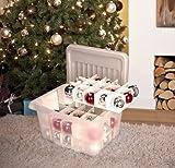 SUNWARE Nesta Weinhnachtsbox 24 Liter + flacher Deckel +Einsatz für 45 Weihnachtskugeln - transparent/silber - NEU