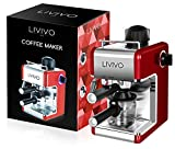 LIVIVO Professional Espresso Cappuccino Coffee Maker Machine with Milk Frothing Arm for Home and Office (Red)