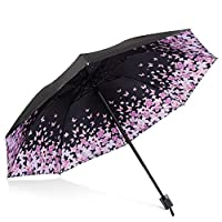 DORRISO Womens Travel Folding Umbrella Sunscreen Windproof Rainproof Portable Lightweight Compact Outdoor Travel Sun Umbrella