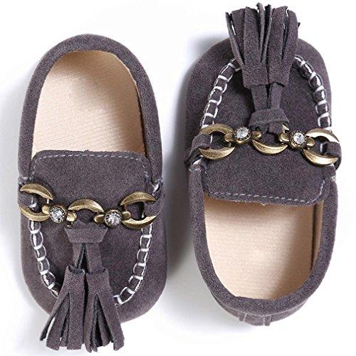 Baby schuhe Jamicy® Baby Kleinkind Niedliche Krippe Schuhe Slip On Comfort Schuhe Loafers Soft Prewalker (12~18 Monate, Schwarz) Grau