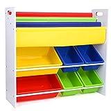HOMFA Kinder Kinderregal Bücherregal Spielzeugregal Spielzeugkiste Aufbewahrungsregal mit Griffen 6 Kästen 86*26.5*78cm