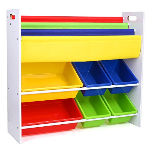 HOMFA Kinder Kinderregal Bücherregal Spielzeugregal Spielzeugkiste Aufbewahrungsregal mit Griffen 6...