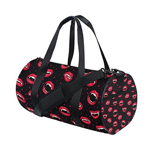 jstel Halloween rot vampir Lippen Sports Gym Tasche für Frauen und Herren Duffle Reisetasche