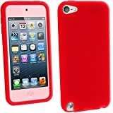 igadgitz Rot Silikon Skin Tasche Hülle Etui Case Cover for Apple iPod Touch 6. Generation (Juli 2015) & 5. Generation (2012-2015) Case Cover + Displayschutzfolie