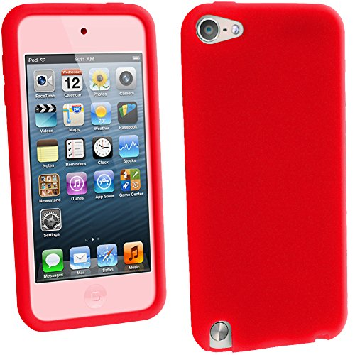 igadgitz Rot Silikon Skin Tasche Hülle Etui Case Cover for Apple iPod Touch 6. Generation (Juli 2015) & 5. Generation (2012-2015) Case Cover + Displayschutzfolie - Mp3-player 64gb Ipod Touch Apple