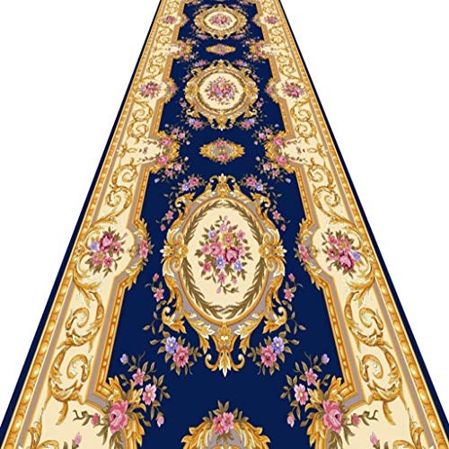 SESO UK- Europäische Halle Teppich-Läufer für Flur Treppen, klassisches kommerzielles Luxushotel Blau Teppich Runner (Size : 140×400cm)
