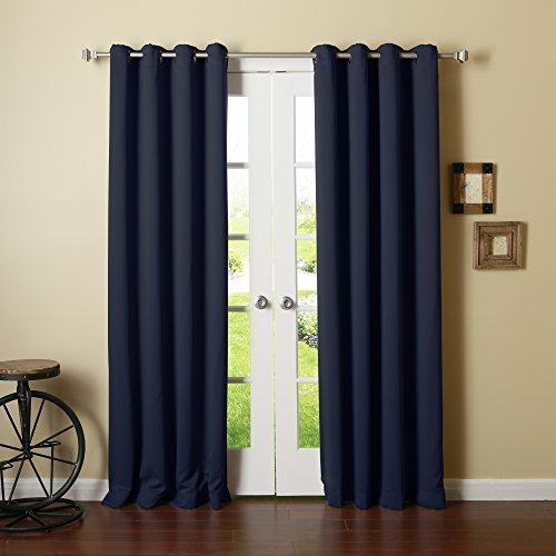 Best Home Fashion Thermal Insulated Blackout Curtains - Antique Bronze Grommet Top - Navy - 52