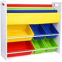Preisvergleich für HOMFA Kinder Kinderregal Bücherregal Spielzeugregal Spielzeugkiste Aufbewahrungsregal mit Griffen 6 Kästen 86*26.5*78cm