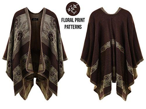 Ferand Poncho Cape Elegant für Damen, Stil Vorne Offen und Dicke für Herbst Winter Stil 3: Braun