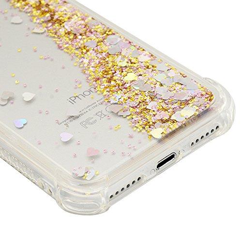 iPhone 7 Cover Silicone e Bling Glitter Brillanti, iPhone 8 Custodia Morbida TPU Flessibile Gomma QuickSand - MAXFE.CO Case Ultra Sottile Cassa Protettiva per iPhone 7 / iPhone 8 - Viola Scuro Cuore Oro