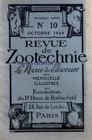 REVUE DE ZOOTECHNIE (LA) [No 10] du 01/10/1924