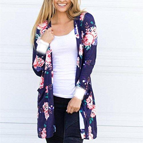 Clode® Femmes Floral Print Chiffon Loose Shawl Kimono Cardigan Top Cover Up Shirt Blouse Bleu