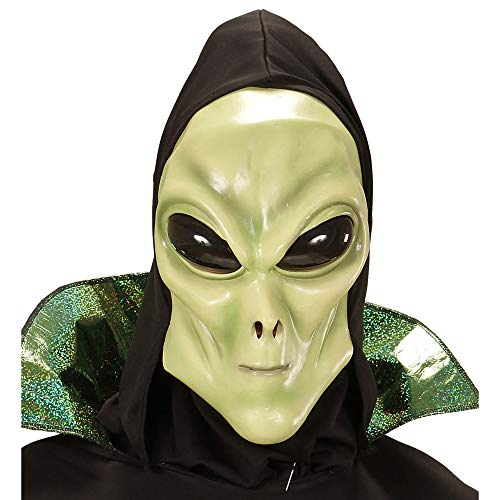 Widmann 74952 Alienmaske mit Kapuze und Bubble Augen für Kinder, Einheitsgröße (Komplettes Alien Kostüm Kind)