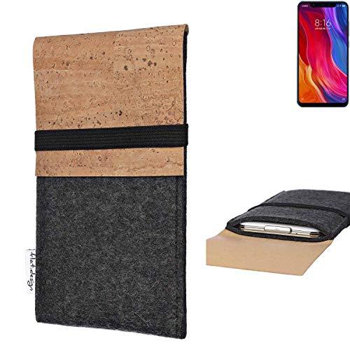 flat.design Handy Hülle SAGRES für Xiaomi Mi8 Youth Made in Germany Handytasche Filz Tasche Schutz Case fair Kork