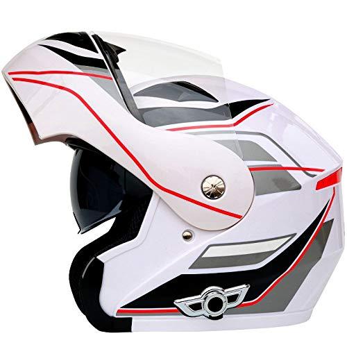 Casco moto Bluetooth, Bluetooth integrato anti-fog modulare doppio obiettivo Bluetooth casco integrato design Bluetooth casco 3000 mAh, MP3, GPS (Design : B-L.)