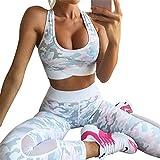 Uskincare Damen 2Pcs Yoga Set Sport-BH Und Leggings Trainingsanzug Yogakleidung (S, Rosa Camouflage)