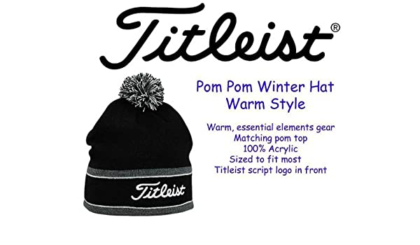 284819d1dc4 Titleist Pom Pom Winter Hat   Cap   Beanie NEW for 2013 - Black   Gray -  Acrylic  Amazon.co.uk  Sports   Outdoors