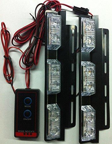 Auto Car LED ultra fine avertissement 6modes flash 12V 4W de danger de sécurité d'urgence de la torche électrique Grille Du précipité de la plate-forme Strobe Light Lamp Bar KM336 bleu profond/blanc