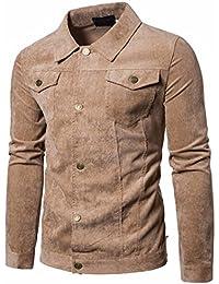 Manadlian  Design Mode Herren Lange Ärmel Cord-Oberteile Mantel Outwear mit  Tasche Kaffee Marine 4f64204115c